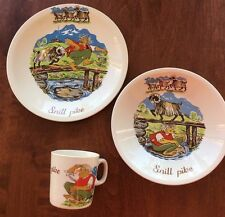 Figgjo Flint Norway Porcelain Child's Dish/Bowl/Mug Snill Pike Troll 3BillyGoats