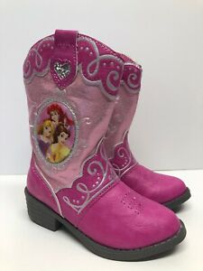 NWT DISNEY PRINCESS Belle Ariel Aurora PINK COWBOY BOOTS Girls Shoes Size 6 or 7