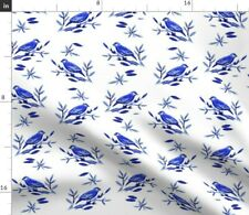 New listing Weaver Blue White Leaves Nature Birds Branch Home Spoonflower Fabric by the Yard
