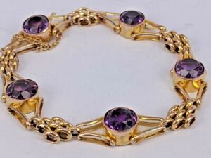 Edwardian 1906 9ct gold & amethyst bracelet stunning condition in a quality box