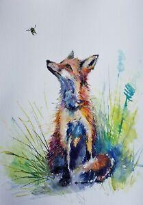 A3 original  watercolour, Bee and Fox