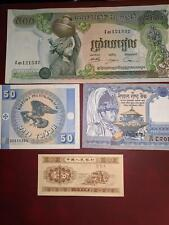 LOT OF 4 ASSORTED UNCIRCULATED WORLD CURRENCY NOTES