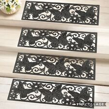 4 PC Set Of Butterfly Scroll Pattern Black Rubber Outdoor Stair Treads Step Mats