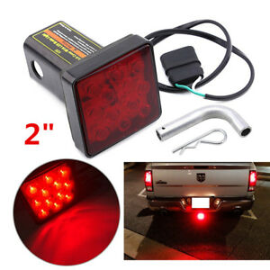 """2"""" Trailer Hitch Receiver Cover 12LED Red Brake Light Stop Lamp Tube Cover w/Pin"""