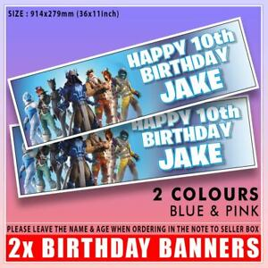 """FORTNITE S7 BIRTHDAY BANNER PERSONALISED x2 36 """"x 11"""" - ANY NAME, ANY AGE"""