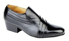 MENS SIZE 7 8 9 10 11 12 BLACK LEATHER CASUAL CUBAN HIGHER HEEL SLIP ON SHOES