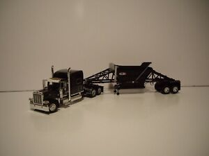 DCP FIRST GEAR 1/64 BLACK AND GRAY PETE 389 WITH SLEEPER AND CPS MANAC TRAILER