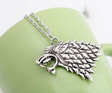 Game of Thrones Stark wolf wild Vintage Silver Pendant Inspired mens Necklace