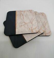 WHITE MARBLE EFFECT/ NAVY AND GOLD DRINKS COASTERS SET X 4 SQUARE COASTERS