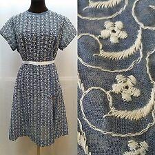 VINTAGE BRITISH LADY EMBROIDERED DRESS--Blue White--Semi Sheer--Size M--EUC