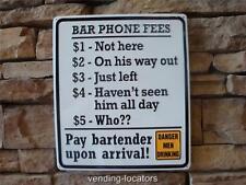 Metal Bartender Phone Fees Tin Sign Funny Tiki Bar/Pub/Tavern Signs Wall Decor