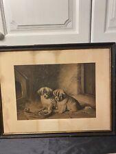 Antique Vintage Framed Print NO GLASS 2 Puppies Eating Bones Titled TOO HOT