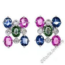 18K White Gold 3.86ctw Oval Pink Blue Green Sapphire Diamond Post Stud Earrings