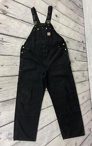 Carhartt Men's Black Duck Cloth Canvas R01 BLK Double Front Overalls Sz 48 x 34