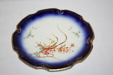 J.C LIMOGES-DIPINTI A MANO Dessert Plate-blu cobalto con riflessi dorati