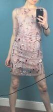 River Island Pink Mesh Overlay Floral Butterfly Embroidered Dress 6 - 8 - B59