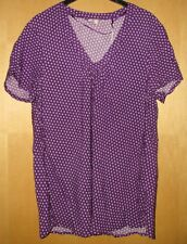 Esprit Bluse Shirt Blusenshirt Tunika Blümchen lila beere weiß Gr. 44