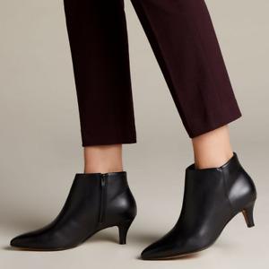 Clarks Linvale Sea Bootie 7.5 Black Leather Kitten Heel Almond Toe Ankle Zipper
