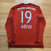 Mario Gotze FC Bayern Munich Munched Adidas Long Sleeve Jersey Large Red Soccer