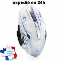 Souris Gamer Sans Fil Rechargeable X8 Silencieuse LED Rétro-éclairage Blanc neuf