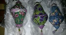 Bradford Editions Era of Louis Tiffany Porcelain Ornaments Set of 3