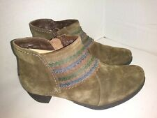 Think Brown Suede Ankle Boots Booties Womens Size 37