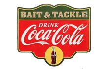 COKE COCA COLA SODA POP BAIT & TACKLE FISHING TIN SIGN RESTAURANT WALL ART