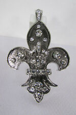 New women fashion silver metal scarf necklace pendant charm fleur de lis flower