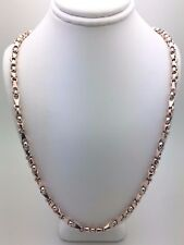 "NEW 10K Two Tone White & Rose Gold 28"" Handmade Chain Link Necklace 53 g 5 mm"