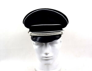 Military WW2 German Elite Officer's Wool Visor Hat W White Chin Pipe Silver Cord