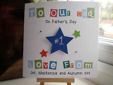 Handmade Personalised No. 1 Father's Fathers Day Card Dad Daddy Grandad Birthday
