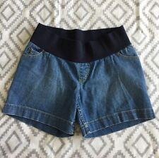 "Liz Lange Maternity Women's Medium Wash Denim Jeans Shorts 6"" Inseam Small cc03"