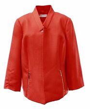 1073-2 Kasper Womens Plus Zip-Front Textured Blazer 22 W $109