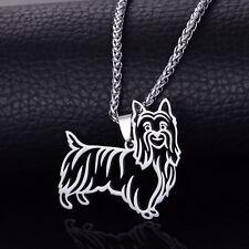 Stainless Steel Australian Silky Terrier Pet Dog Outline Charm Pendant Necklace
