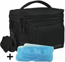 XL Insulated Travel Camping Lunch Bag Cooler Tote with Reusable Ice Packs,Black