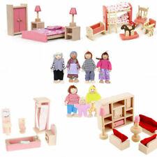More details for kids pink wooden furniture dolls house miniature room set doll toys for gift diy