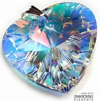 SWAROVSKI CRYSTALS *AURORA HEART* LARGE PENDANT STERLING SILVER CERTIFICATE