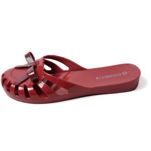 Women's Round Toe Roman Hollow Out Flats Pvc Sandals Summer Beach Slippers