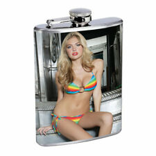 Rock & Roll Pin Up Girls D7 Flask 8oz Stainless Steel Hip Drinking Whiskey
