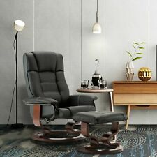 Modern New Leather Swiveling Recliner Chair & Ottoman with Swiveling Wood Base