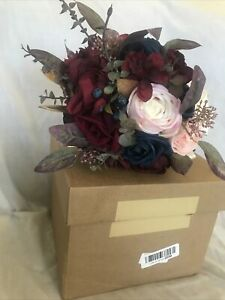 Ling's Moment 11 Inch Bridal Bouquet Burgundy/Blue Artificial Moments