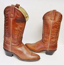 ACME Men's Boots Western Cowboy Roper Pull On Brown USA Size 9 C VINTAGE