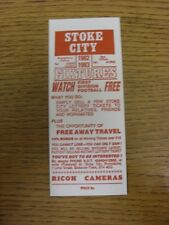 1982/1983 Fixture List: Stoke City - Official Four Page Card . Thanks for viewin