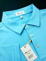 Peter Millar Summer Comfort Stretch Blue Pink Striped Polo Shirt Crown Sport