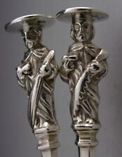 Hermosa inglés plata esterlina apóstol cucharas de servir 1910 Antiguo