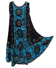 Batik Embroidered Embellished Hippie Tunic Top Dress Boho Beach Size 10 12 14