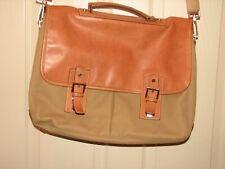 HARTMANN Brown Leather Canvas Messenger Shoulder Bag NEW