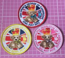 Set Of Three Prince George, Princess Charlotte And Prince Louis Badges Scout Ect