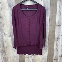 Free People Women's Size XS Long Sleeve Top Burgundy Linen Blend High Low