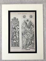 1880 Antico Architettonico Stampa Vittoriano Effetto Vetrata Vetro Design Chiesa